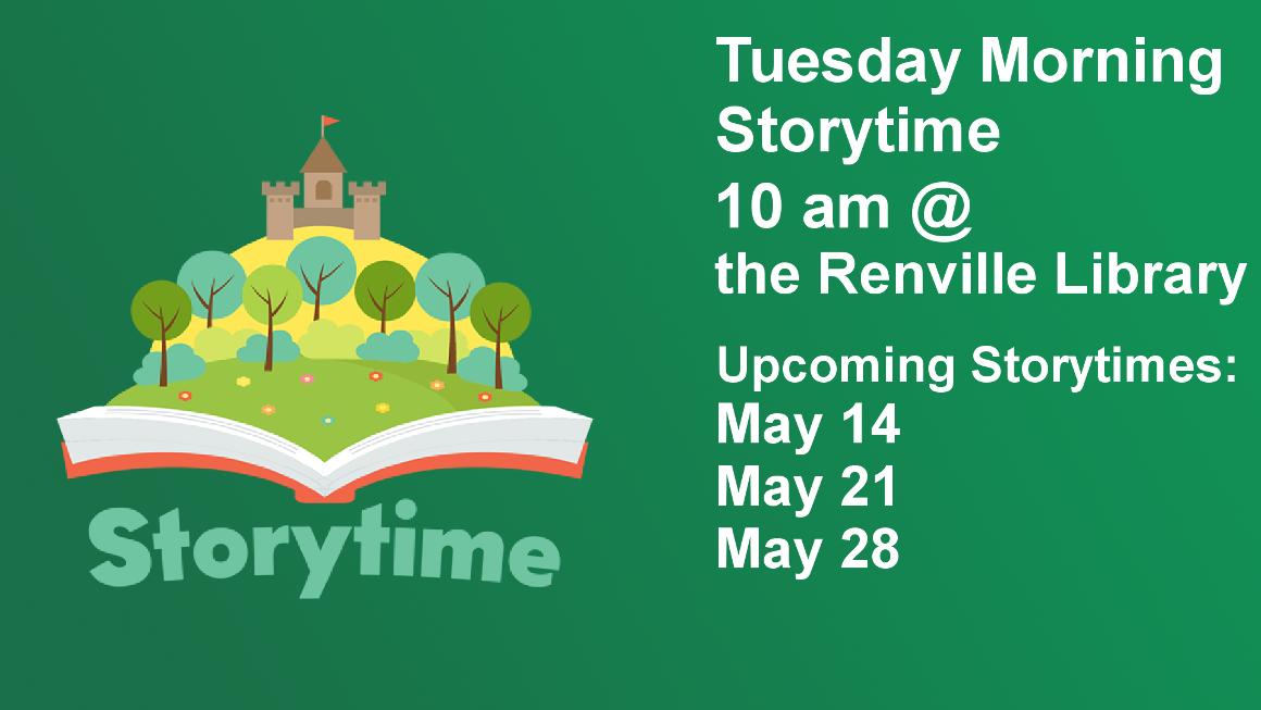 Tuesday Morning Storytime 10 am @  the Renville Library Upcoming Storytimes: May 14 May 21 May 28