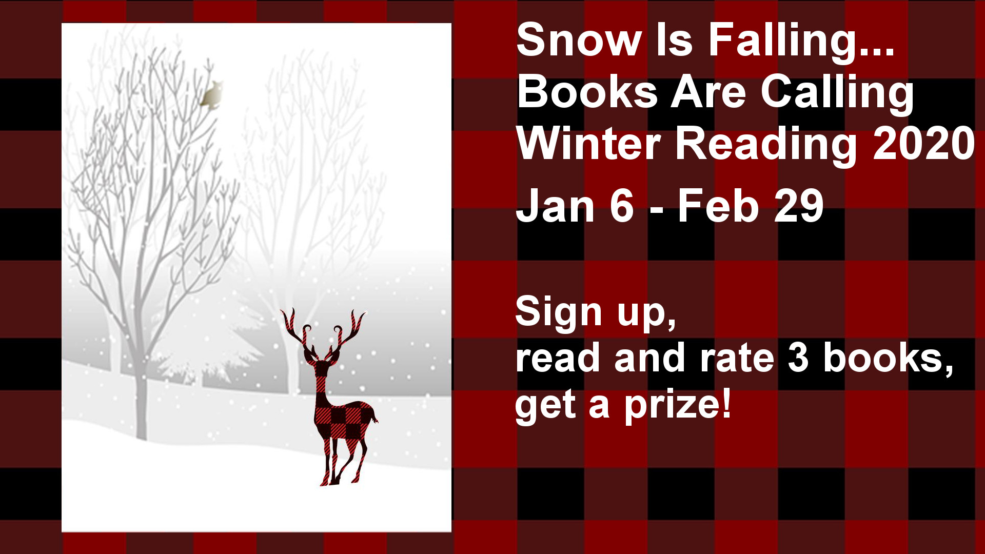 Sign up,  read and rate 3 books,  get a prize!